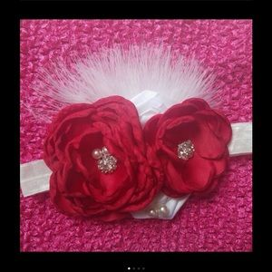 Other - Red Flowers Feather Headband