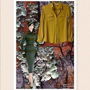 Mustard Yellow Ann Taylor Loft Button Down Blouse