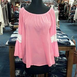 Vanilla Bay Tops - Vanilla Bay Pink Chiffon Sheer Vintage Lace Blouse