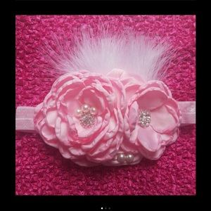 Other - Pink Rose Feather Headband