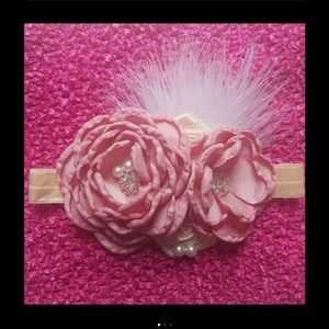 Other - Dusty Pink Rose Feather Headband