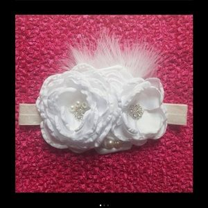 Other - White Rose Feather Headband