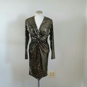 Vintage Black Tie Sequin Dress