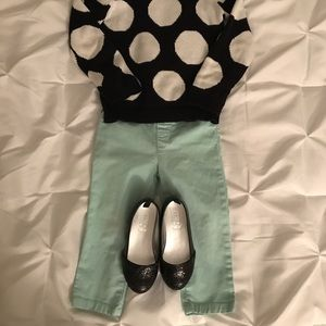 Mint(light green) skinny pants for toddlers.