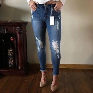 Distressed Frayed Hem Skinny Jeans