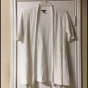 Eileen Fisher Ivory Linen Short Sleeve Cardigan