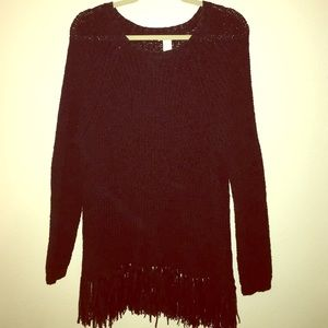 H&M fringe knit sweater