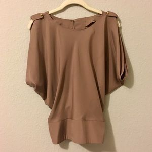 Brown Open-Back Blouse