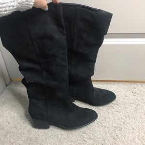 "Black ""suede"" boots"