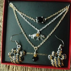 Jewelry - Mizzou Tigers 3strand layered necklace & earrings