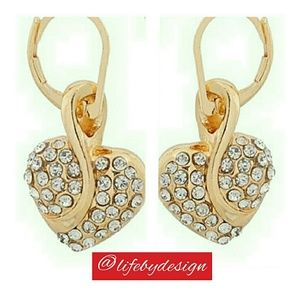 Life by Design  Jewelry - Yellow Gold Plated Earrings with Clear Crystals.