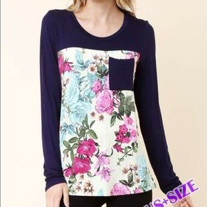 Tops - Pocket & Floral Top