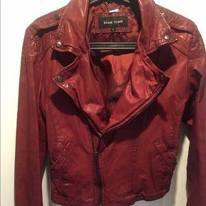 Black Rivet Jackets & Blazers - Leather burgundy biker jacket