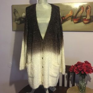 Melissa McCarthy Sweaters - Melissa McCarthy Seven7 Dip Dye Fuzzy Cardigan.