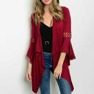 Tops - Beautiful Burgundy open front duster
