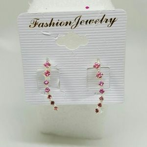 Life by Design  Jewelry - 18k White Gold Plated Clear Pink Crystal Earrings
