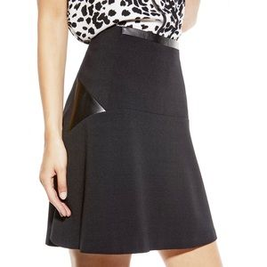 Vince Camuto Faux Leather Ponte Flared Skirt $89