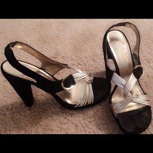 Calvin Klein Black & Gold Heels