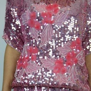 Vintage pink sequin set skirt and blouse