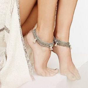 Free People silver Tassel anklets