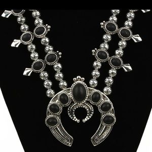 Black squash blossom necklace