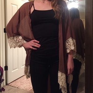 Spool 72 Sweaters - NWT brown with lace cardigan!