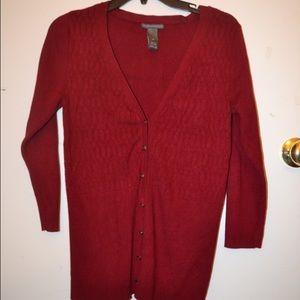 Hillard & Hanson Sweaters - Burgundy cardigan