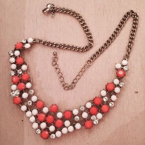 J. Crew Jewelry - JCrew Statement Necklace Orange Crystal