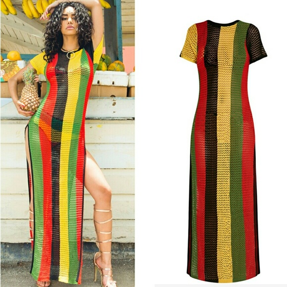 Rasta Colors of Africa side split knitted maxi NWT