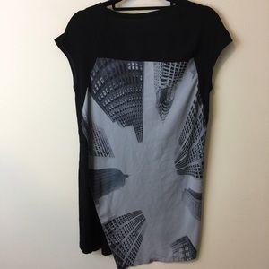 Black City Aerial Photo Shirt Blouse