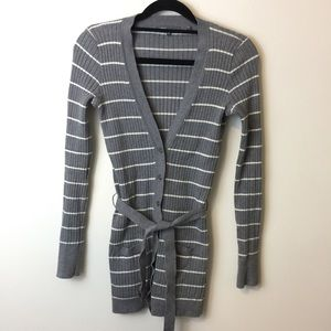 Vince Sweaters - Vince Cotton Grey White Striped Ribbed Cardigan