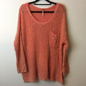 Free People Sweaters - FREE PEOPLE Orange Loose Knit Cotton Sweater