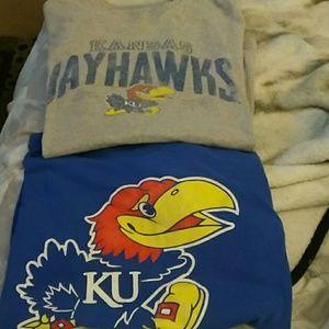 Delta Pro Weight Shirts - 2 Kansas Jayhawks t-shirts