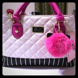 Betsey Johnson Handbags - BETSEY JOHNSON Blk/Wht Dome Bag with pink accents