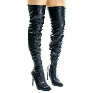 SARAH SIAH  Shoes - Black PU Leather Over The Knee Boot / Heels