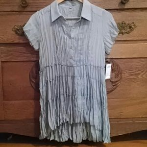 NY Collection Tops - Boho Pleated Short Sleeve Long Babydoll Top Blouse