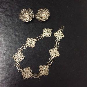 Jewelry - Matching silver-like metal bracelet & earrings
