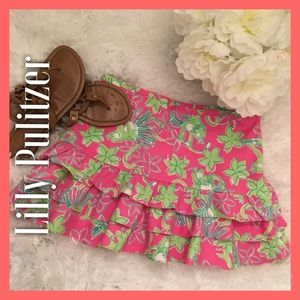 Lilly Pulitzer Dresses & Skirts - Lilly Pulitzer Ruffled Pink/Green Jungle Skirt