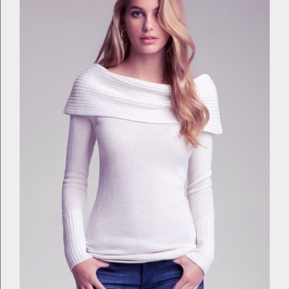 50% off bebe Sweaters - Bebe off shoulder white cream gold sweater ...