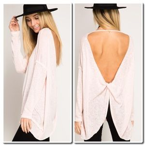 She and Sky Tops - Pullover Top with twisted open Back