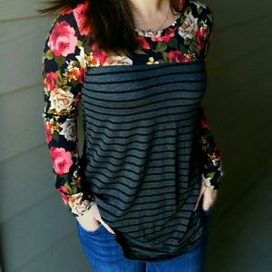 Floral, charcole strip long sleeve.