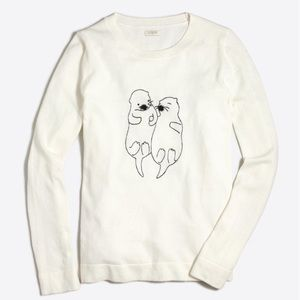 NWT J. Crew Embroidered Otter sweater