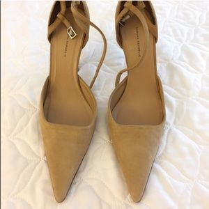Suede pointy heels