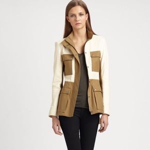 Theory Marcaire L leather/canvas jacket