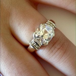 Jewelry - 14KT Gold Old Mine Cushion Diamond Simulant Ring