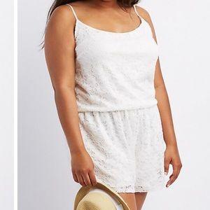 Pants - Plus sz off white lace romper 2X