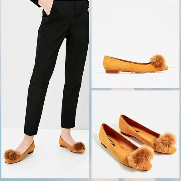 Zara 0 Leather Ballet Flats With Pom