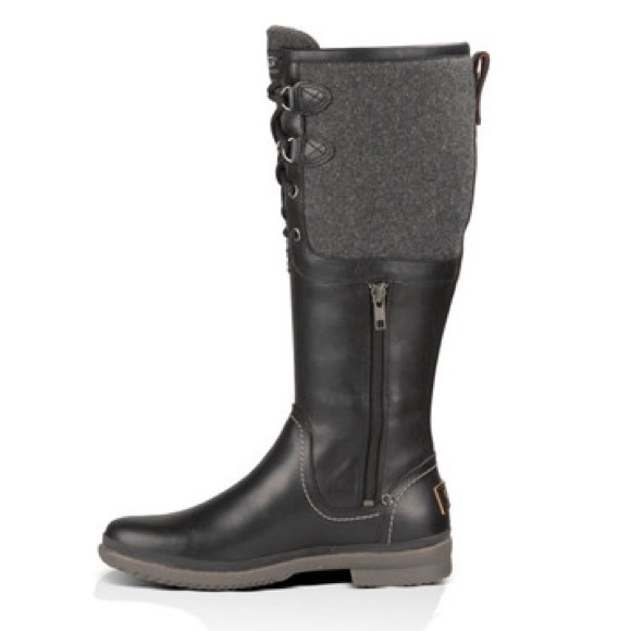 1676b9eb300 UGG ELSA BLACK TALL WATERPROOF LEATHER RAIN SNOW B
