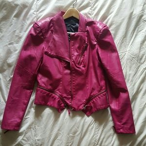 Blank NYC Jackets & Blazers - BLANkNYC  Faux Leather Hot Pink Moto Jacket s 4