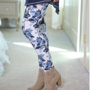 Blue Floral Leggings